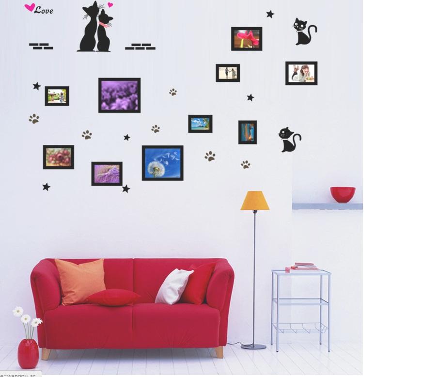 Наклейка на стену Фоторамки с котиками